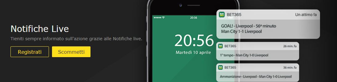 bet365 mobile notifiche live